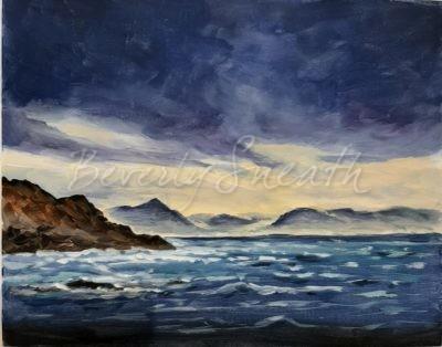 dark sky stormy sea